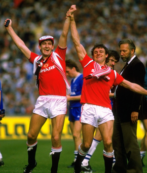 Cup glory: Norman Whiteside celebrates FA Cup success in 1985