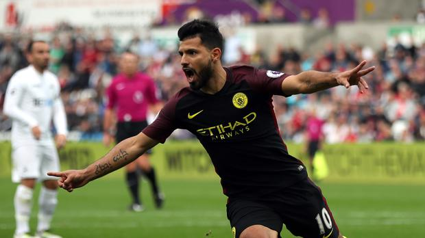 Sergio Aguero, pictured, scored twice - but Manchester City manager Pep Guardiola wants even more from his premier frontman