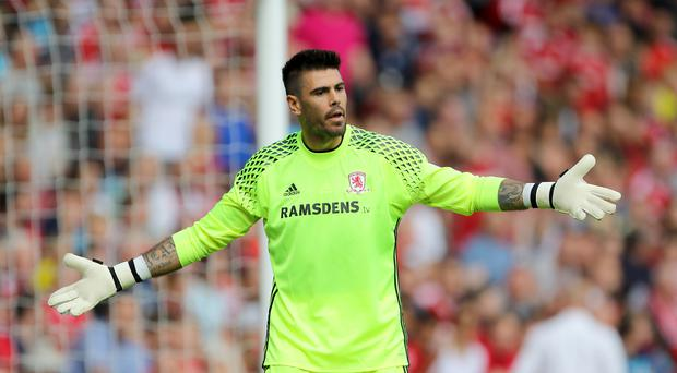 Middlesbrough goalkeeper Victor Valdes was involved in a heated exchange with team-mate Adam Clayton