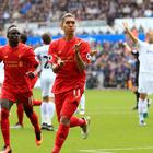 Liverpool's Roberto Firmino celebrates his equaliser