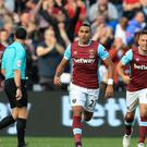 West Ham's Dimitri Payet celebrates scoring his side's only goal against Boro