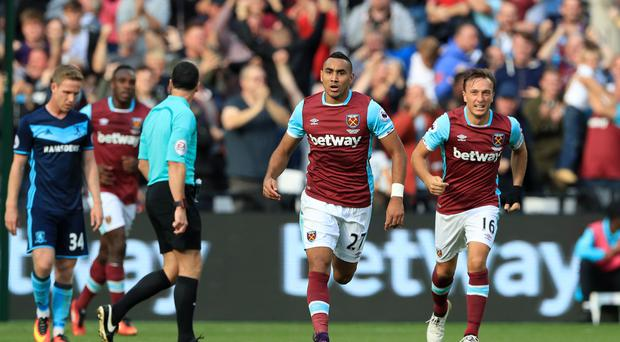 Dimitri Payet, centre, scored a stunning solo goal to rescue a point for West Ham against Middlesbrough