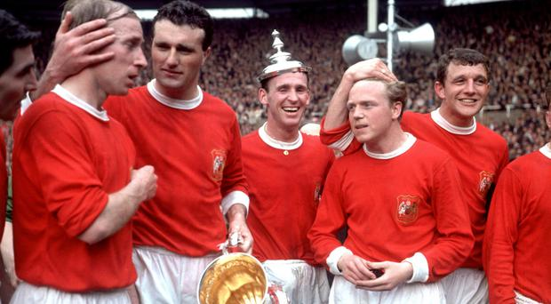 David Herd, right, was part of the Manchester United team which won the 1963 FA Cup