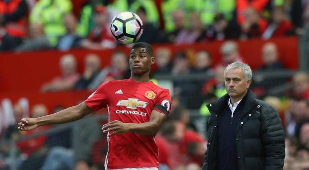 Marcus Rashford, left, failed to impress in front of goal