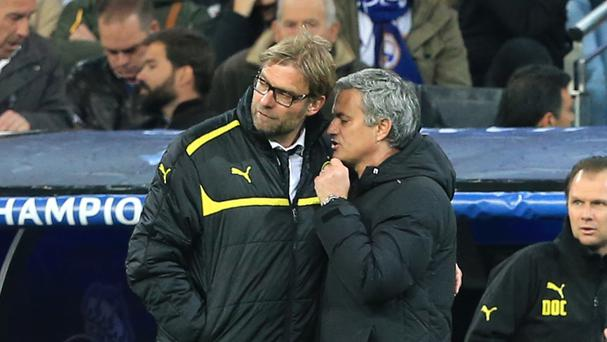 Jose Mourinho, right, then of Real Madrid, met Jurgen Klopp's Borussia Dortmund in the semi-finals of the Champions League in 2013