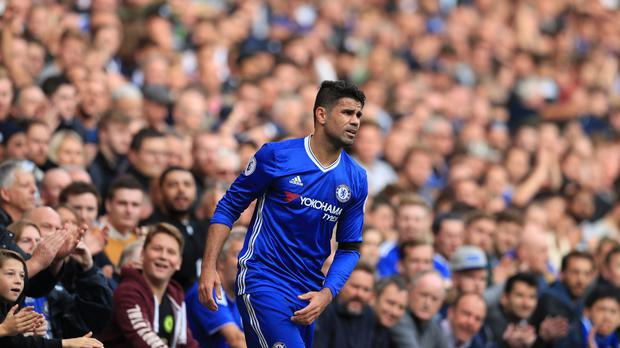 Chelsea's Diego Costa was kept on the field by Antonio Conte