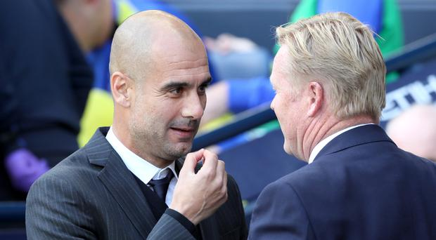 Ronald Koeman, right, hailed Pep Guardiola's Manchester City side as the best he has faced as a manager