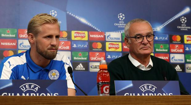 Leicester manager Claudio Ranieri (right) and Kasper Schmeichel speaking ahead of their Champions League game with FC Copenhagen.