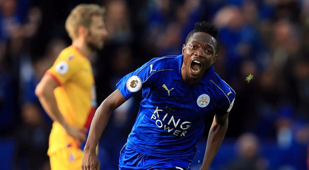 Leicester's Ahmed Musa celebrates opening the scoring in the Foxes' 3-1 win over Crystal Palace