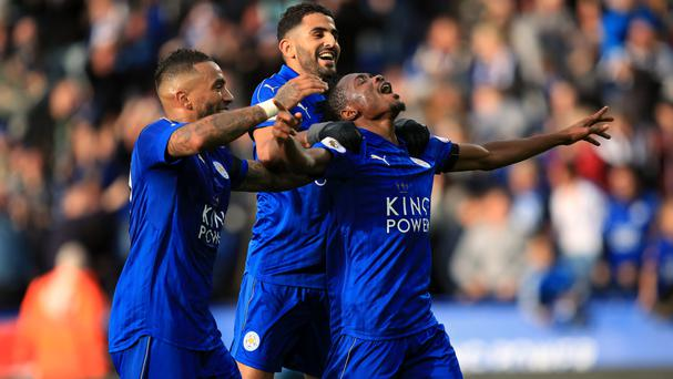 Leicester celebrate Ahmed Musa's (right) first goal for the club in their 3-1 win over Crystal Palace on Saturday.