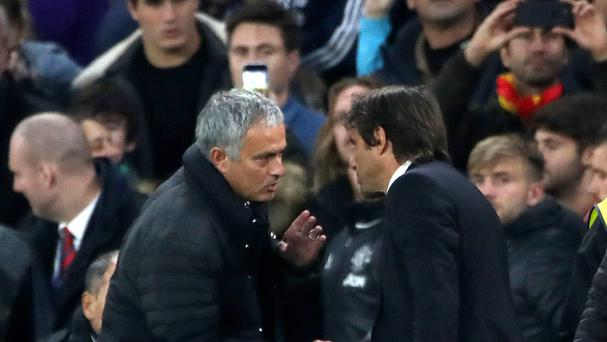 Chelsea manager Antonio Conte (right) shakes hands with Manchester United manager Jose Mourinho (left) after the game