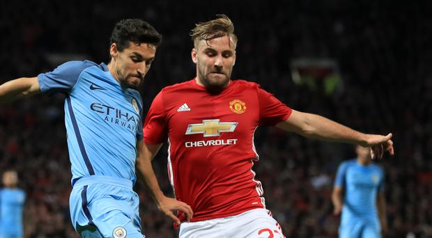 Manchester United's Luke Shaw helped frustrate the Manchester City attack on Wednesday