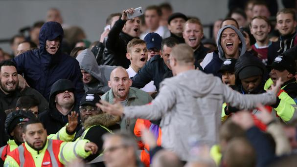 Fans clashed at West Ham's EFL Cup tie against Chelsea