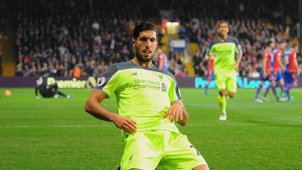 Emre Can scored Liverpool's opening goal in their 4-2 victory at Crystal Palace