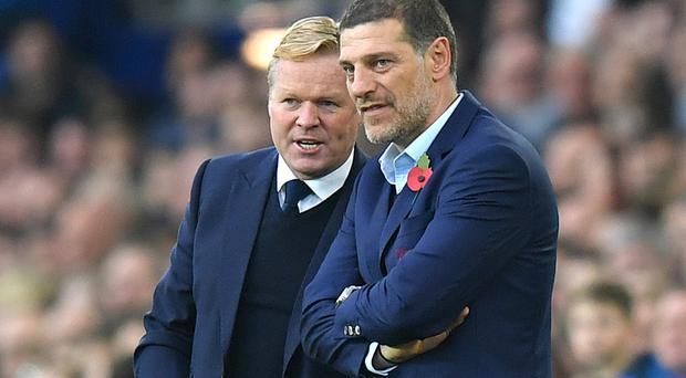 Ronald Koeman, pictured left, was delighted with Ross Barkley's display against Slaven Bilic's West Ham