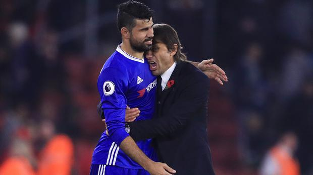 Diego Costa, pictured left, sealed victory for Antonio Conte's side at St Mary's