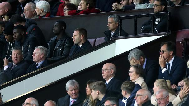 Jose Mourinho (pictured top centre), was sent to the stands for the second half on Saturday