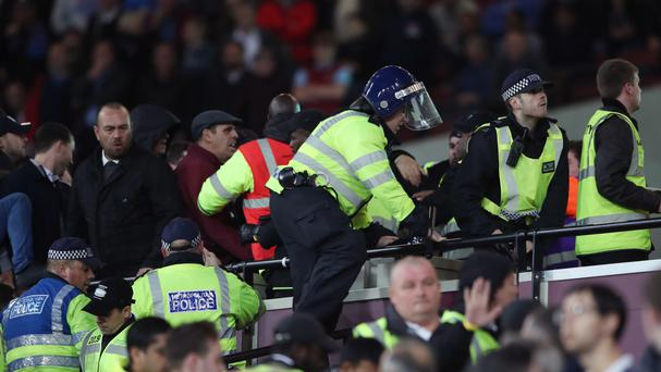 Police had to step in after trouble flared between West Ham and Chelsea supporters at the London Stadium last month