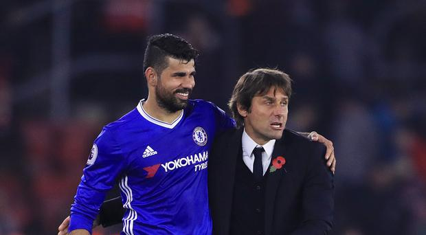 Chelsea's Diego Costa, pictured left, is highly rated by his coach Antonio Conte, right