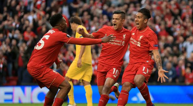 Philippe Coutinho, centre, and Roberto Firmino, right, have scored a combined eight league goals already