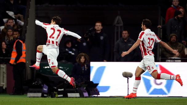 Stoke's Bojan Krkic, left, scored their equalising goal in the 1-1 draw with West Ham
