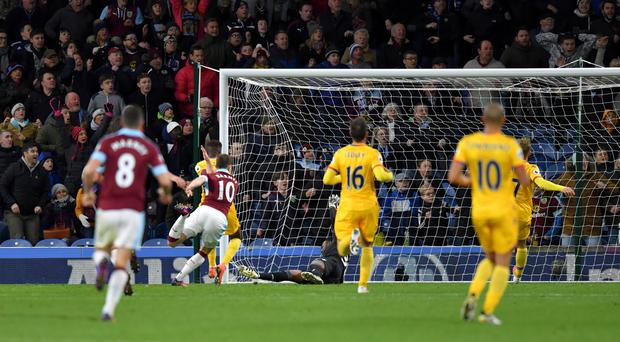 Burnley's Ashley Barnes scores his side's winner