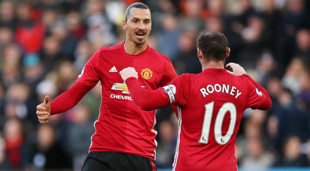 Zlatan Ibrahimovic, left, scored twice in Manchester United's win