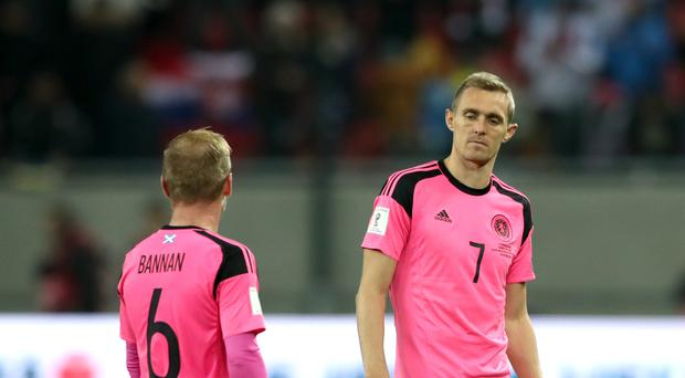 Darren Fletcher (right) and his Scotland team-mates will wear pink kits at Wembley