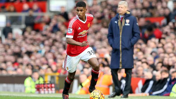 Marcus Rashford (left) scored twice as Manchester United beat Arsene Wenger's Arsenal last season.