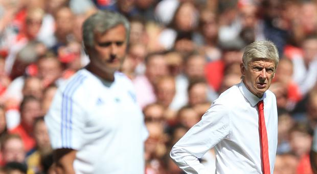 Jose Mourinho, pictured left, feels he does not get the same level of respect as Arsene Wenger, right