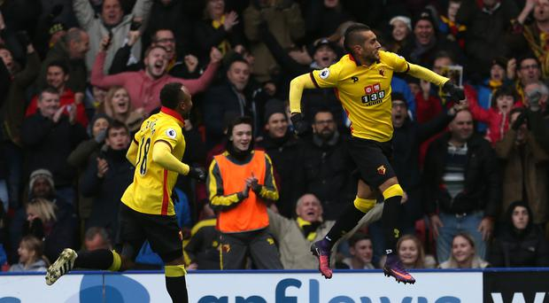 Watford's Roberto Pereyra (right) celebrates