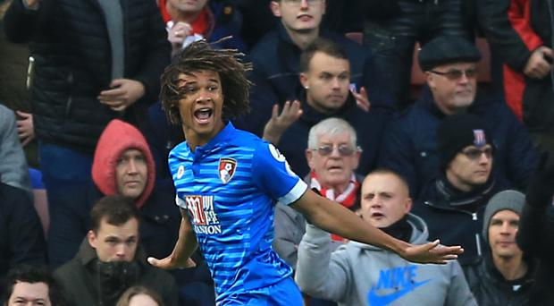 Nathan Ake celebrates scoring the match-winning goal against Stoke