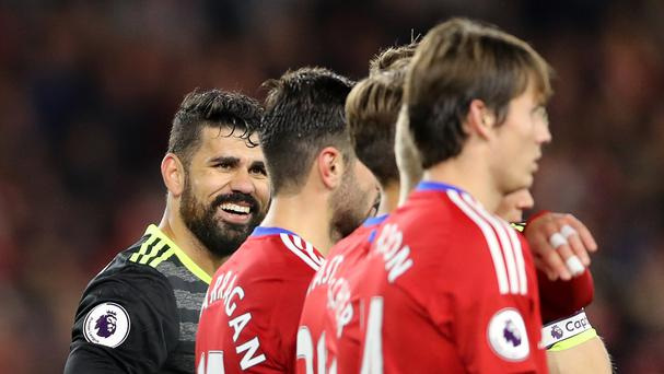 Diego Costa, pictured left, had the last laugh at Middlesbrough