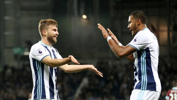 West Brom goalscorers James Morrison and Salomon Rondon celebrate together on Monday night
