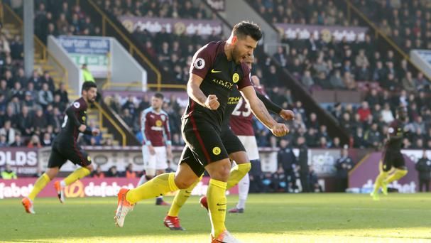 Sergio Aguero scored twice as Manchester City won at Burnley