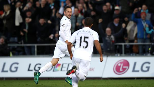 Swansea City's Gylfi Sigurdsson celebrates scoring in the 5-4 victory over Crystal Palace.