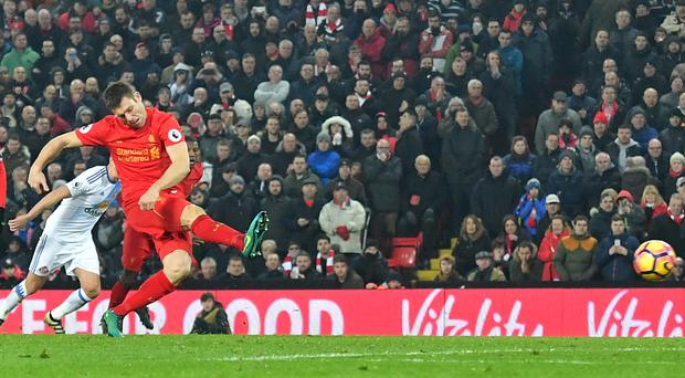 James Milner scored a late penalty for Liverpool