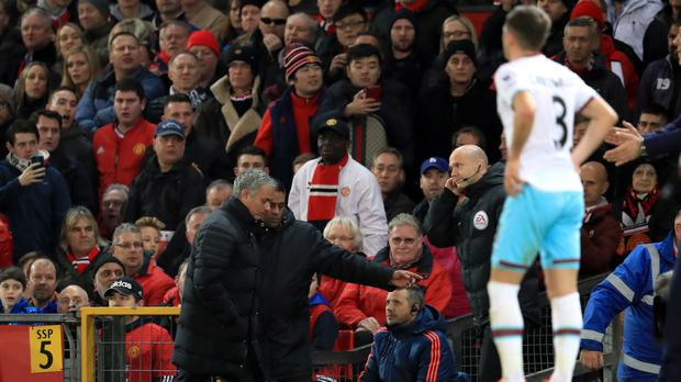 Jose Mourinho is sent to the stands on another frustrating day at Old Trafford for his Manchester United side