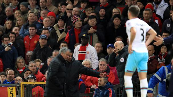 Manchester United manager Jose Mourinho is sent to the stands against West Ham