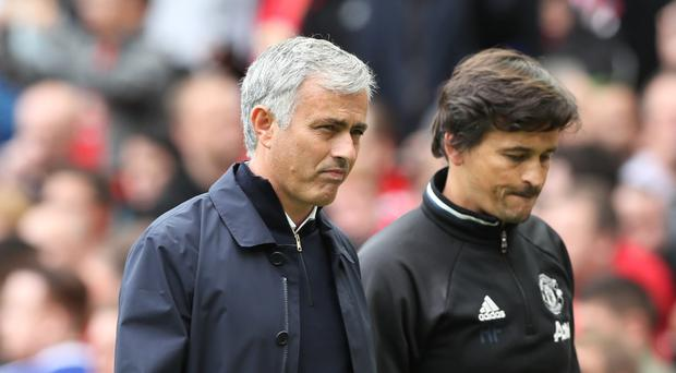 Rui Faria, pictured right, had to speak on Jose Mourinho's behalf on Sunday