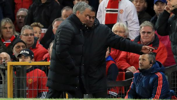 Manchester United manager Jose Mourinho was sent to the stands against West Ham during their Premier League clash