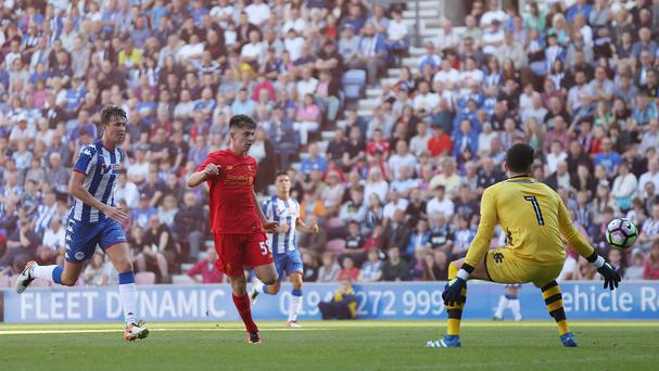 Ben Woodburn scored Liverpool's second goal during a pre-season friendly at Wigan