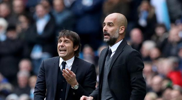 Pep Guardiola, right, and Antonio Conte, left, met for the first time as managers