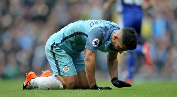 Manchester City striker Sergio Aguero faces a four-match ban after being sent off in the 3-1 defeat at home to Chelsea.