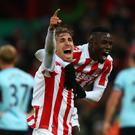 Marc Muniesa, left, scored his first Premier League goal for Stoke