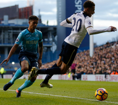 Fall guy: Dele Alli goes to ground and wins a penalty for Spurs