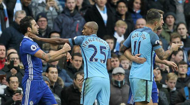 Chelsea's Cesc Fabregas was involved in a confrontation with Manchester City midfielder Fernandinho