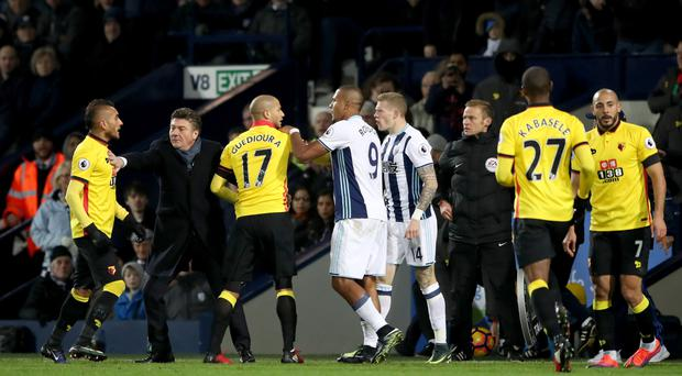 West Brom's James McClean, right centre, argues with Adlene Guedioura, third left, in Albion's 3-1 win over Watford