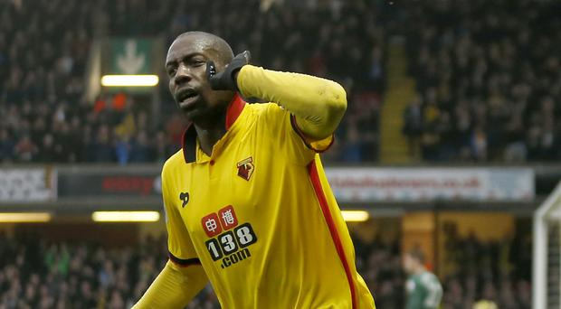 Stefano Okaka netted his first Watford goals in the win over Everton