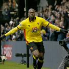 Watford's Stefano Okaka scored twice in the defeat of Everton.